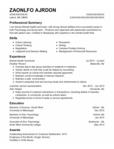 Mental Health Technician resume example Mississippi