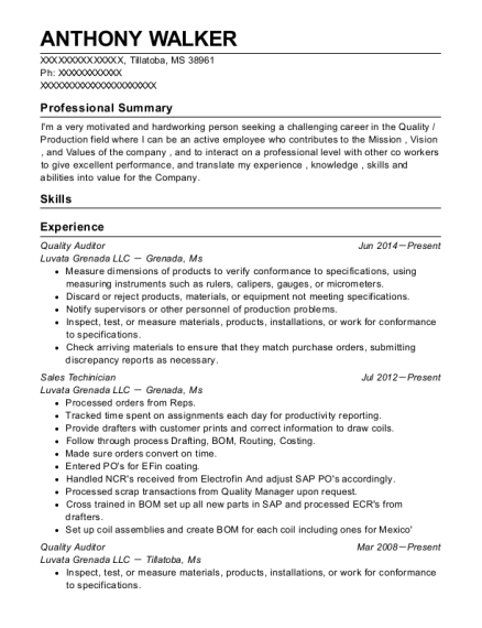 Quality Auditor resume example Mississippi
