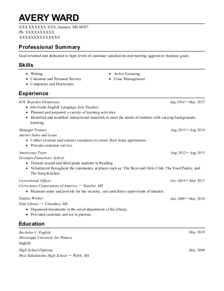Manager Trainee resume format Mississippi