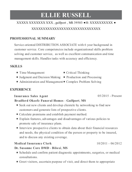 Insurance Sales Agent resume example Mississippi