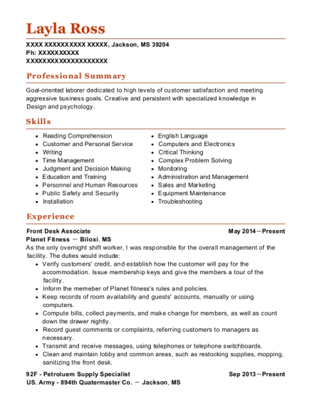Front Desk Associate resume sample Mississippi