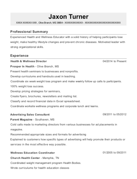 Health & Wellness Director resume sample Mississippi
