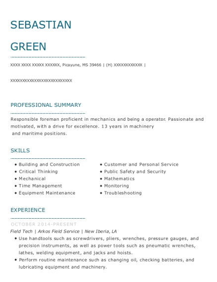 Field Tech resume format Mississippi
