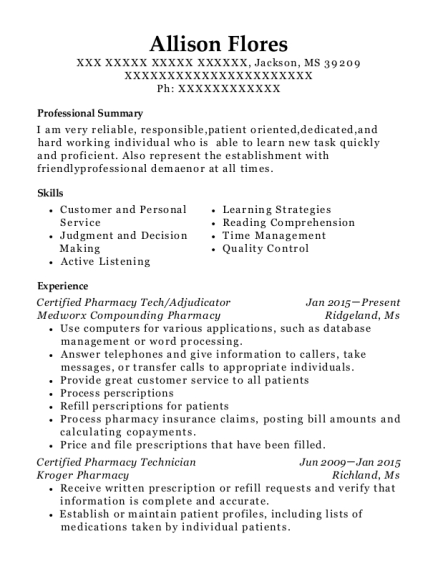 Certified Pharmacy Tech resume template Mississippi