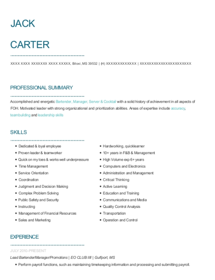 Lead Bartender resume sample Mississippi