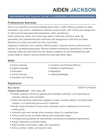 Key Carrier resume example Mississippi