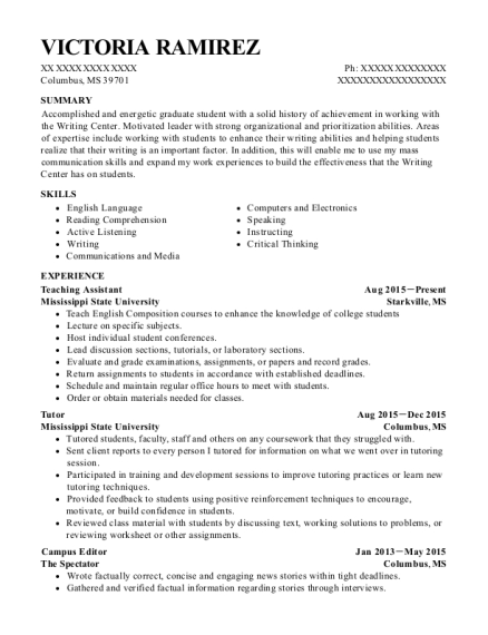 Teaching Assistant resume format Mississippi