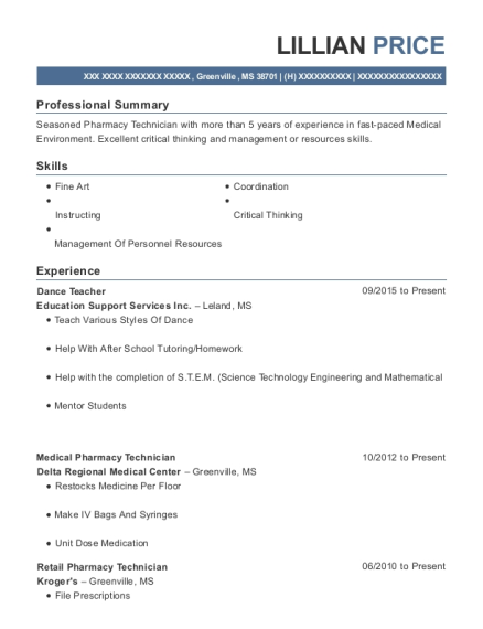 Dance Teacher resume sample Mississippi