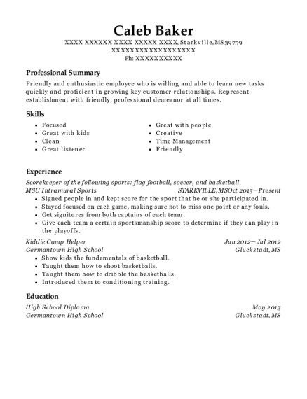 Scorekeeper of the following sports flag football resume example Mississippi
