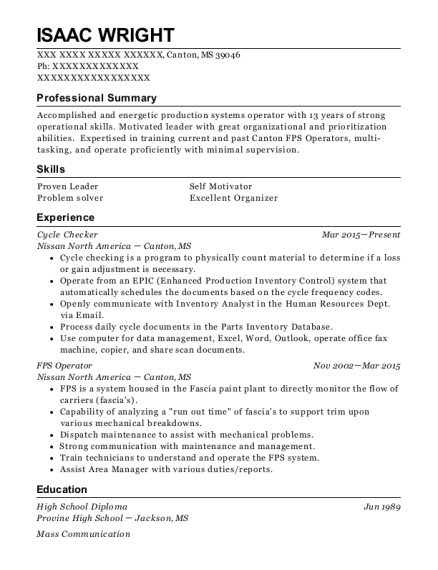 Cycle Checker resume format Mississippi