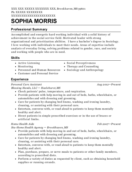 Personal Care Assistant resume sample Mississippi
