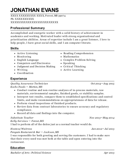 Quality Assurance Technician resume example Mississippi