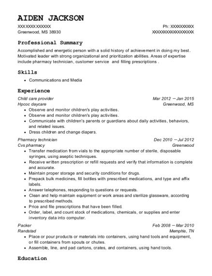 Child care provider resume example Mississippi