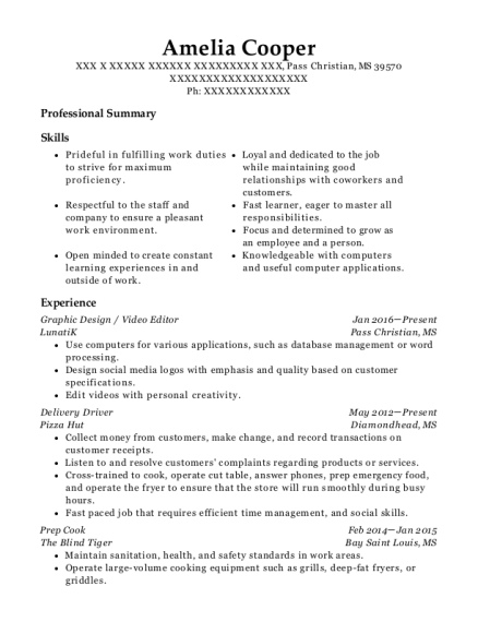 Graphic Design resume format Mississippi