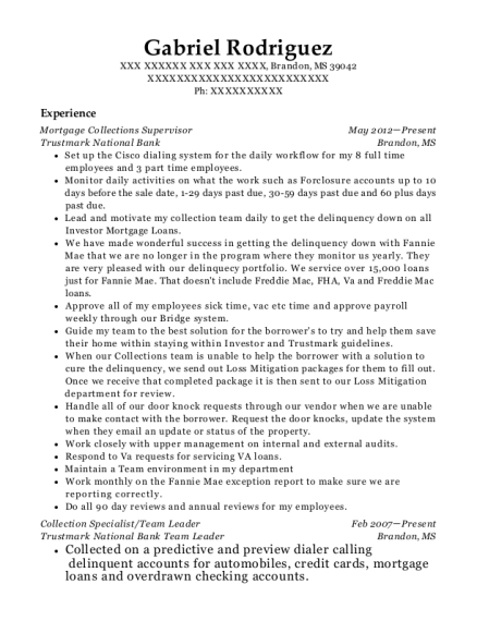 Mortgage Collections Supervisor resume format Mississippi