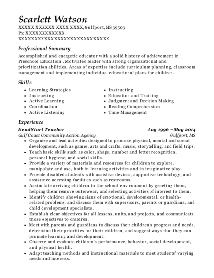 HeadStart Teacher resume format Mississippi