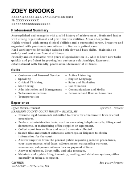 Office Clerks resume sample Mississippi