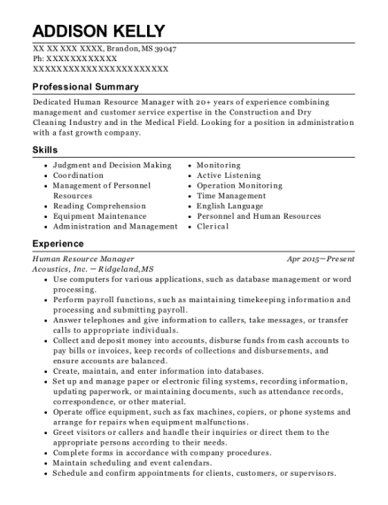 Human Resource Manager resume sample Mississippi