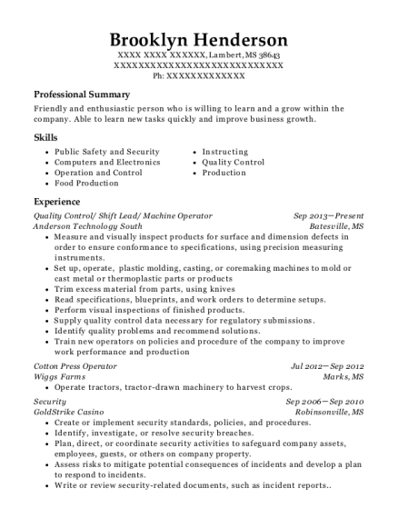 Quality Control resume example Mississippi
