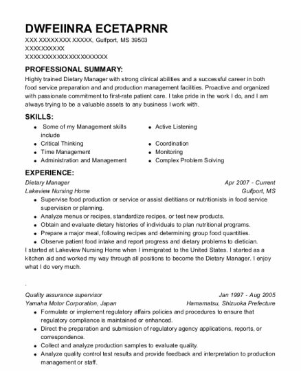 Dietary Manager resume format Mississippi