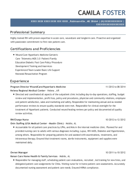 Program Director WoundCare resume example Mississippi