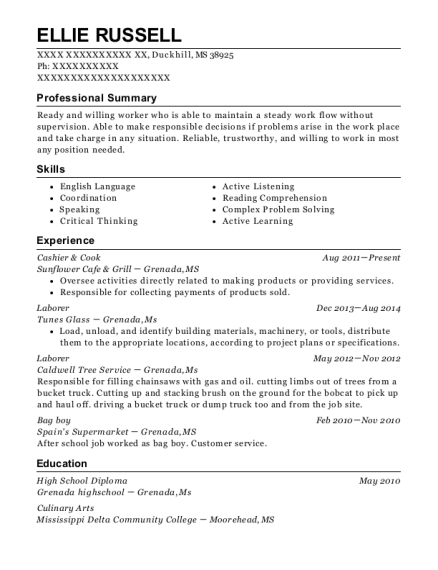 Cashier & Cook resume example Mississippi