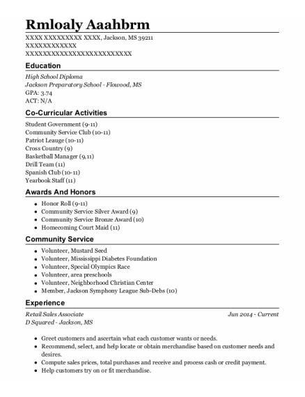 Retail Sales Associate resume format Mississippi