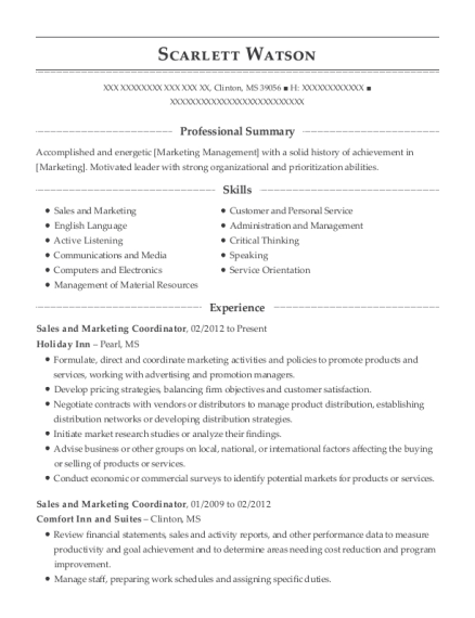 Sales and Marketing Coordinator resume template Mississippi