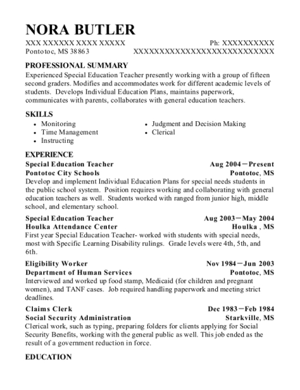 Special Education Teacher resume template Mississippi