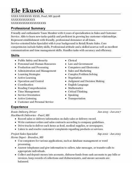 Route Delivery Driver resume sample Mississippi
