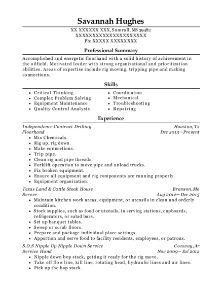 Floorhand resume example Mississippi