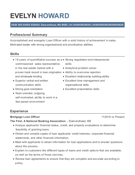 Mortgage Loan Officer resume format Mississippi