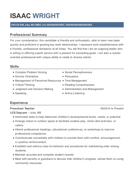 Preschool Teacher resume sample Mississippi