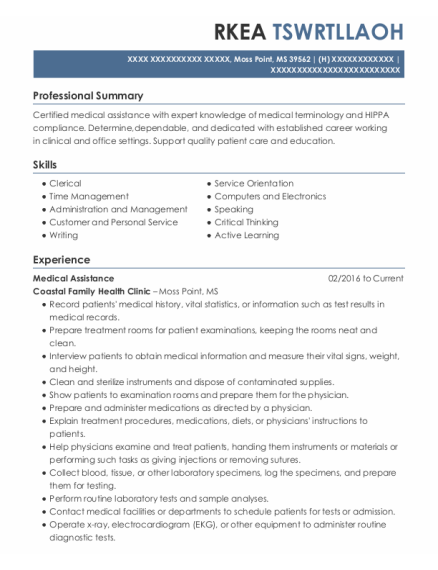 Medical Assistance resume example Mississippi