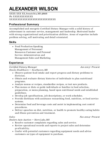 Certified Dietary Manager resume template Mississippi