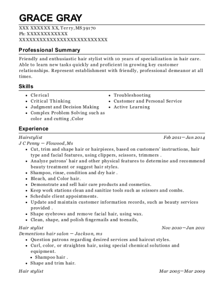 Hairstylist resume format Mississippi