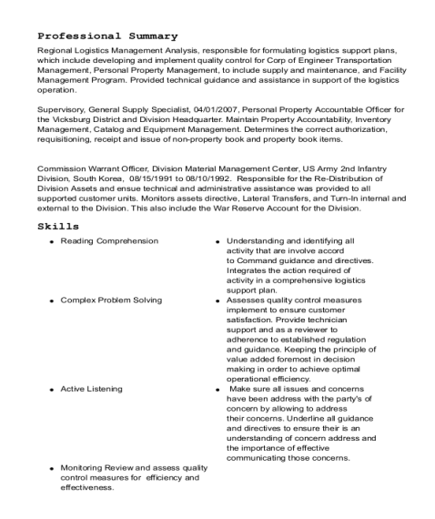 defense logistics agency general supply specialist resume sample