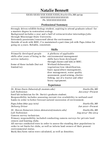 Lab Technician resume sample Mississippi