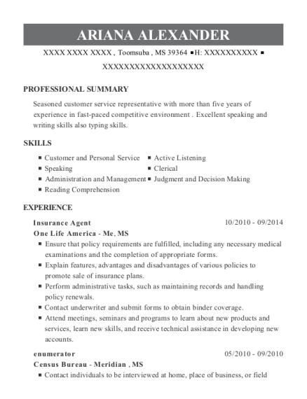Insurance Agent resume template Mississippi