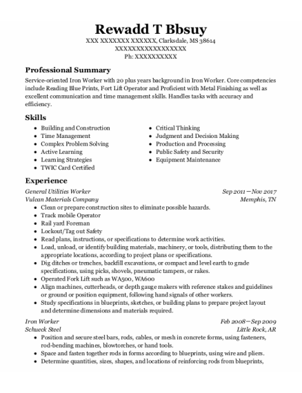 Iron Worker resume template Mississippi