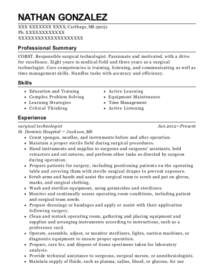 Surgical Technologist resume sample Mississippi
