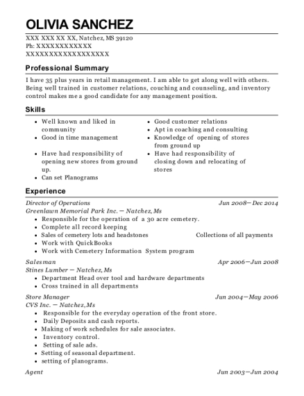 Director of Operations resume example Mississippi