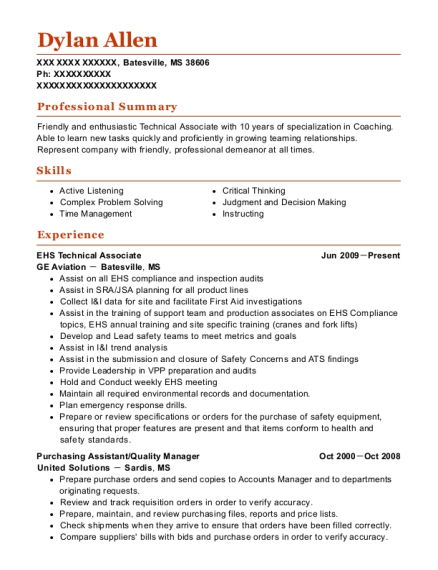 EHS Technical Associate resume format Mississippi