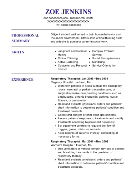 Respiratory Therapist resume format Mississippi