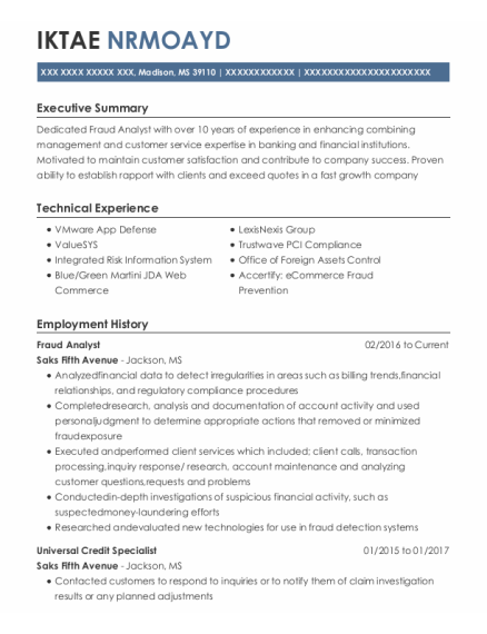 Fraud Analyst resume example Mississippi