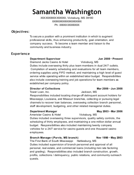 Department Supervisor resume format Mississippi