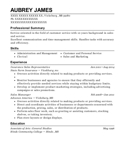 Insurance Sales Representative resume template Mississippi