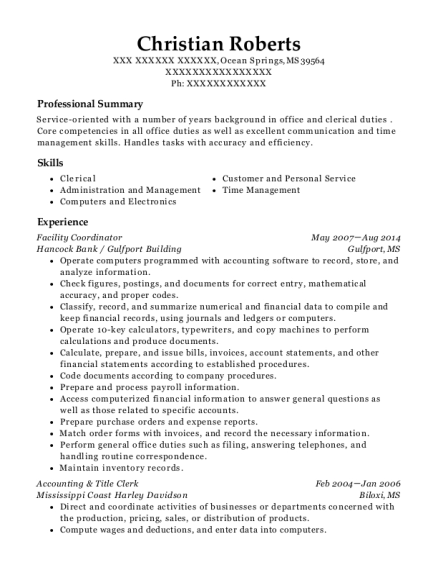 Facility Coordinator resume example Mississippi