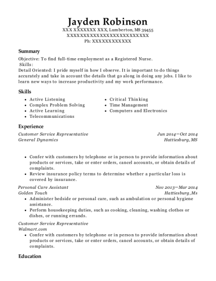 Customer Service Representative resume sample Mississippi