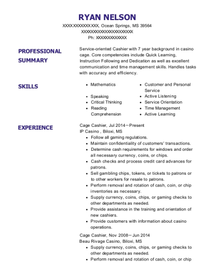 Cage Cashier resume example Mississippi